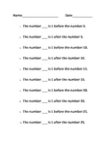 Counting Activity - numberline activity