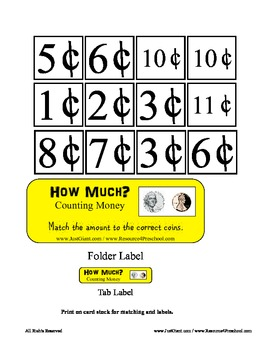 Counting / Adding Coins to 11 cents - Math Center - Basic Money Introduction