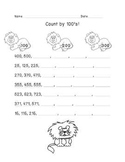 Counting Animal Worksheets- Counting by 1's, 10's and 100's.