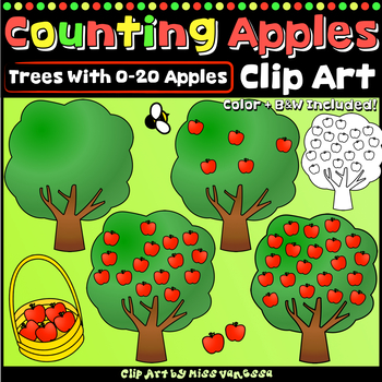 Counting Apples Clip Art,  Color & Black Line Images for Numbers 0-20