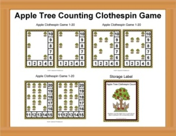 Counting Apples Clothespin Game