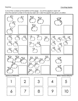 Counting worksheets for kindergarten cut and paste