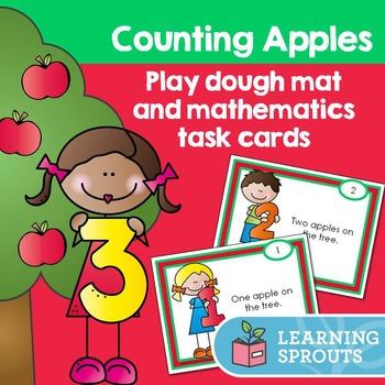 Counting Apples: Play dough mat and mathematics task cards
