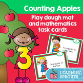 Counting Apples: Play dough mat and mathematics task cards