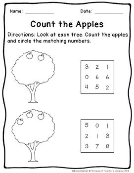 Counting Apples Tree 0-20 Practice Set