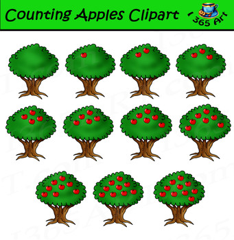 Counting Apples Tree Clipart Set