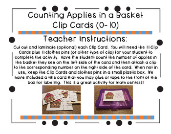 Counting Apples in Baskets Clip Cards (0-10)