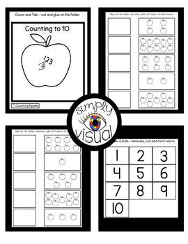 Counting Apples to 10 File Folder Activities