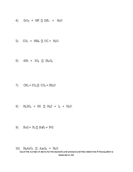 Counting Atoms/ Balancing Equations Practice