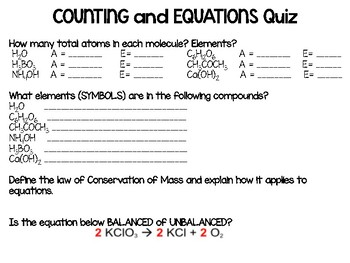 Counting Atoms Quiz