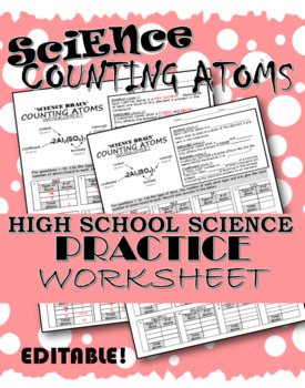 Counting Atoms — SCIENCE BRAIN {Fully Editable Worksheet!}