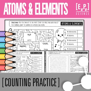 Counting Atoms and Elements Maze and Word Search