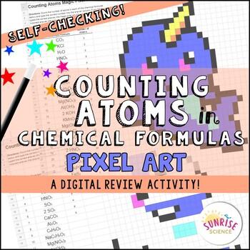 Counting Atoms in Chemical Formulas Pixel Art Digital Review