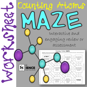 Counting Atoms In Chemical Formulas Maze Worksheet For Review Or Assessment