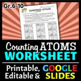 Counting Atoms Worksheet | Print & Google Slides Options