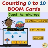 Counting Raindrops Count to 10 BOOM Cards™ Digital Task Ca