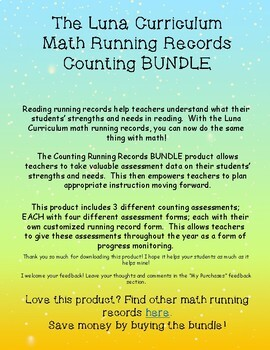 Counting BUNDLE - Math Running Records