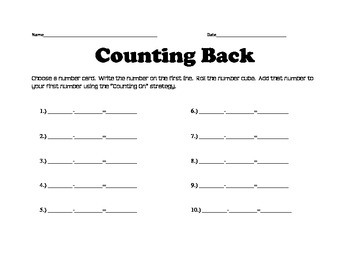 Counting Back Activity