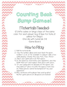 Counting Back BUMP Math Games! -1, -2, -3