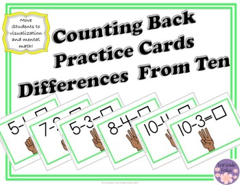 Counting Back Differences From Ten Practice Cards