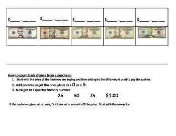 Counting Back Money to Make Change Guided Thinking Strip