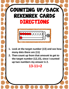 Counting Back Subtraction Rekenrek Cards
