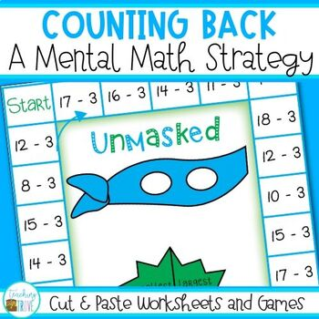 Counting Back Subtraction Strategy Cut & Paste Worksheets