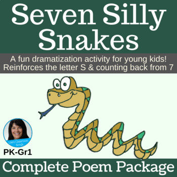 """Counting Backward Game   """"Seven Silly Snakes""""   Complete Poem Package"""