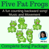 """Counting Backward Song   """"Five Fat Frogs"""" by Lisa Gillam   Complete Song Package"""