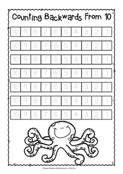 counting backwards from   ten to one  kindergarten worksheets  counting backwards from   ten to one  kindergarten worksheets and  printables