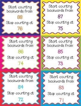 Counting Backwards Task Cards
