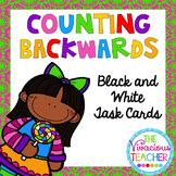 Counting Backwards Task Cards - Black and White