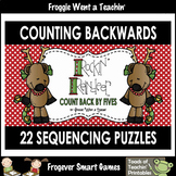 """Counting Backwards by Fives--""""Rockin' Reindeer"""" Number Sequencing Puzzles"""