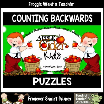 """Counting Backwards by Ones--Number Sequencing Puzzles """"Apple Cider Kids"""""""
