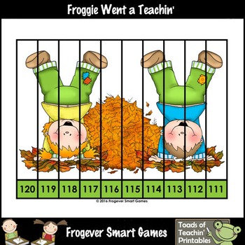 """Counting Backwards by Ones--Number Sequencing Puzzles """"Autumn Leaf Kids"""""""