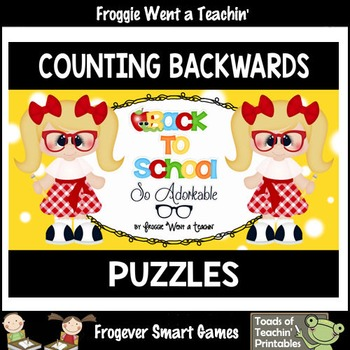 """Counting Backwards by Ones--Number Sequencing Puzzles """"Bac"""