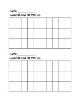 Counting Backwards from 30 Fill In Chart