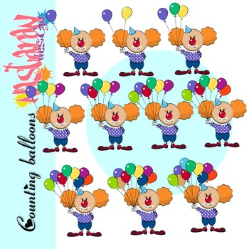 Counting Clip Art -Clown With Balloons