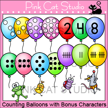 Counting Balloons with Bonus Characters Clip Art Set - Personal & Commercial Use