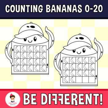 Counting Bananas Clipart (0-20)