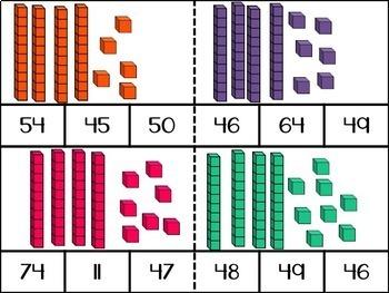Counting Base Ten Blocks: 1-100 Clip Cards Bundle