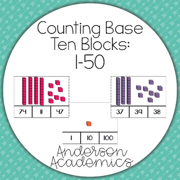 Counting Base Ten Blocks: 1-50 Clip Cards