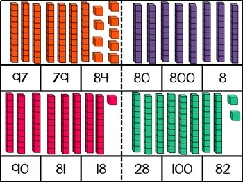 Counting Base Ten Blocks: 51-100 Clip Cards