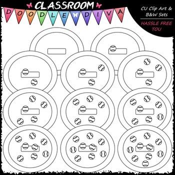(0-10) Counting Baseballs Clip Art - Counting & Math Clip Art & B&W Set