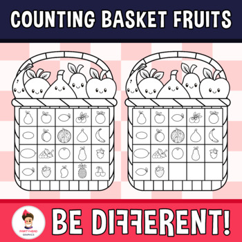 Counting Basket Fruits Clipart (0-20)