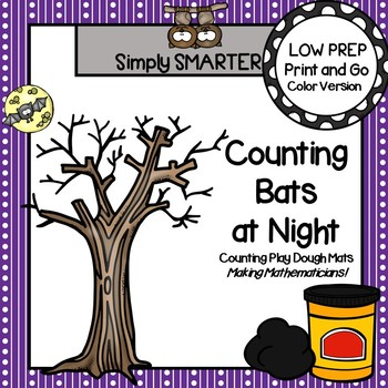 Counting Bats at Night:  LOW PREP Bat Themed Counting Play Dough Activity
