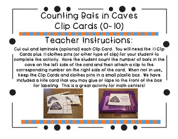 Counting Bats in Caves Clip Cards (0-10)