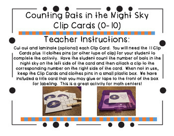 Counting Bats in the Night Sky Clip Cards (0-10)