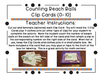 Counting Beach Balls Clip Cards (0-10)
