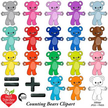Counting Bear Clipart, Teddy Bear Clipart, Math Manipulatives, AMB-2245